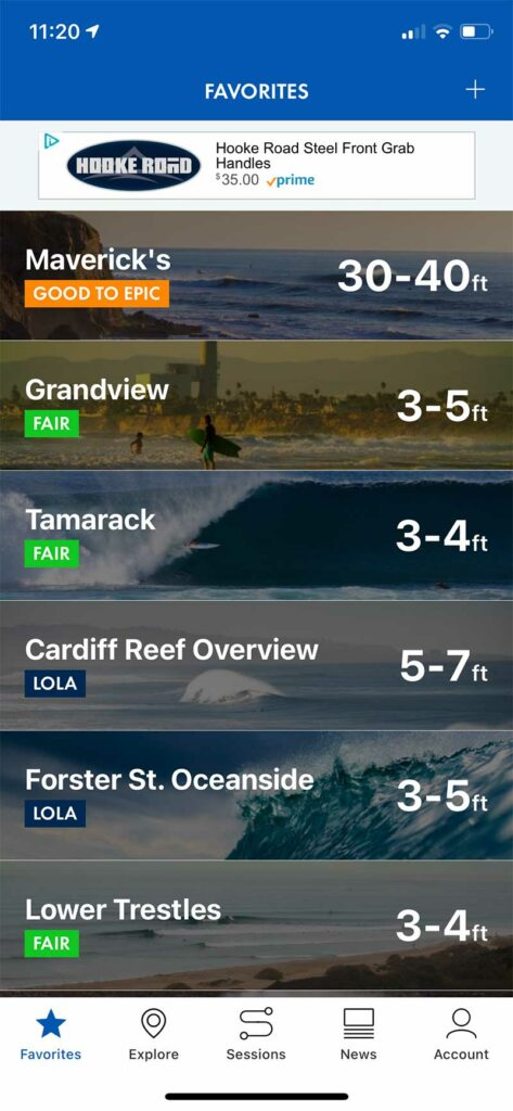 Surfline App Screenshot of Wave Report