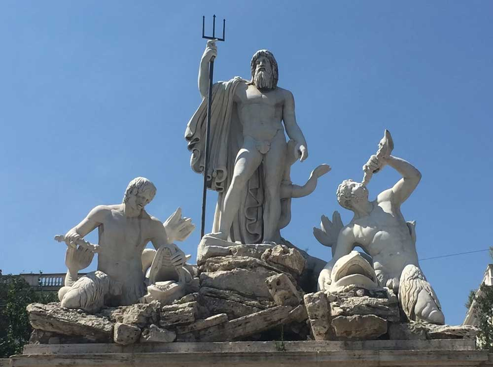 A statue of King Neptune, Rome, Italy. Neptune is the Roman version of the Greek's Poseidon.